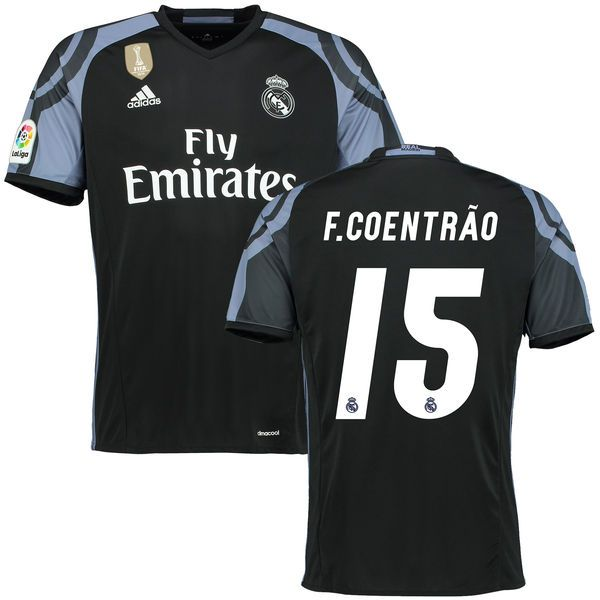 Fabio Coentrao Real Madrid adidas 2016/17 Third FIFA World Cup Champions Patch Replica Jersey - Black - $114.99