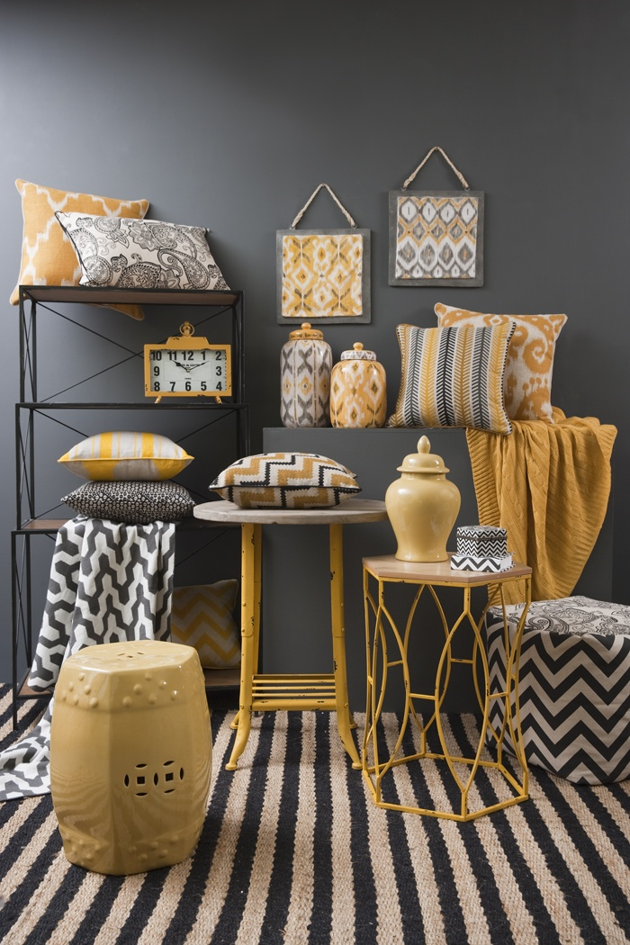 Global Traveller Mustard Range - combine mustard yellow, off white and charcoal furnishings with mid grey walls for a contemporary look