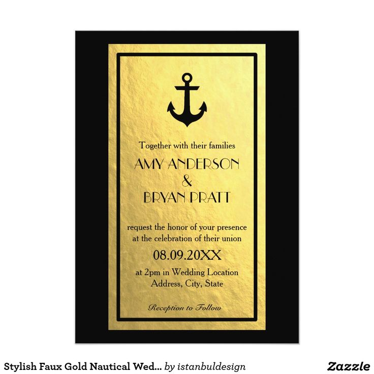 Gold Foil Nautical Wedding Invitation The 1369