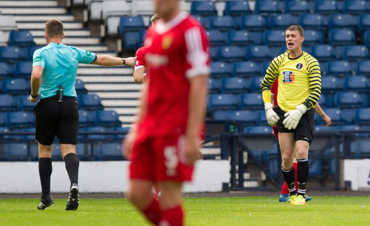 Queen's Park's Wullie Muir gives penalty away during the SPFL League One game between Queen's Park and Albion Rovers.