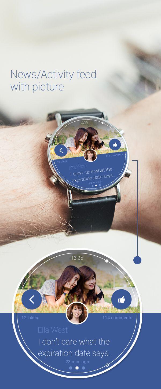 Facebook Android Wear Concept UI by Vijay Gupta, via Behance