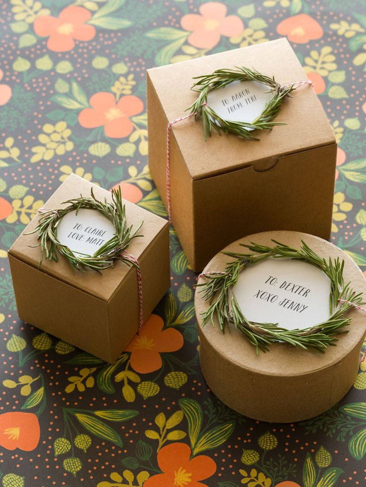Rosemary Wreath Gift Toppers Soak rosemary first to clean and make more pliable