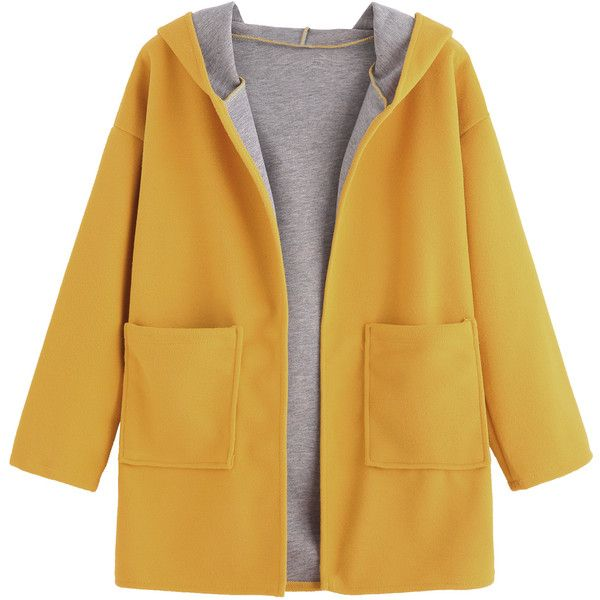 SheIn(sheinside) Yellow Drop Shoulder Pocket Hooded Coat (313.620 IDR) ❤ liked on Polyvore featuring outerwear, coats, yellow, brown coat, hooded coat, yellow coat, drop shoulder coat and short coat