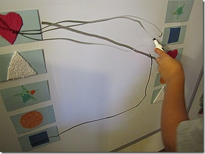 A little matching + fine & gross motor fun. Could use magnets on fridge and dry erase marker for even easier fun!