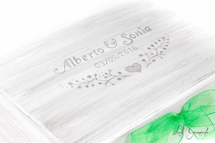 Caja anillos y arras Alberto y Sonia