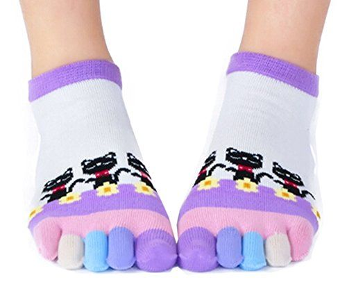 Womens [Cats Dancing] Five Toes Socks Five Fingers Cartoon Socks 1 Pair Made by #Panda Superstore Color #Purple. Soft and Comfortable. One pair of socks.. Creative design. More stick the feet.. Absorb sweat, breathable effect is good. Good for health.. Stretchy, one size fits most. Easy to match.. Great for lounging around the house or keeping toes warm.