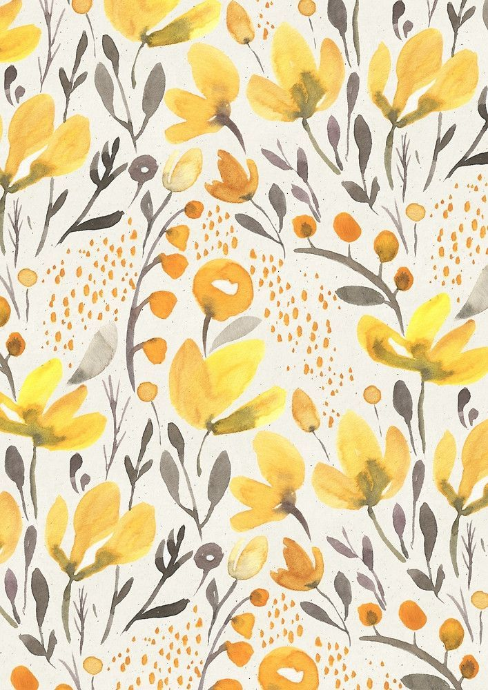 Yellow Floral Watercolor Pattern Floral Watercolor Prints