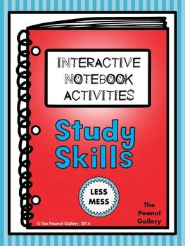 This 93 page resource involves tons of activities (with LESS MESS) to add some creativity and color to your study skills interactive notebooks. Study skills included are: Setting Goals, Setting Up a Study Area, Time Management, Organization, Maximizing Class Time/Homework/Study Time, Using Mnemonic Devices, and Test Taking Tips ($)