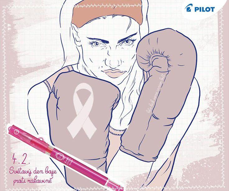 Růžová je barva gelového rolleru Pilot Maica, ale je typická i pro odznáček, jehož zakoupením vyjádříte sounáležitost se světovým dnem boje proti rakovině, který je právě dnes. #KreslenímZaLepšíZítřky :)