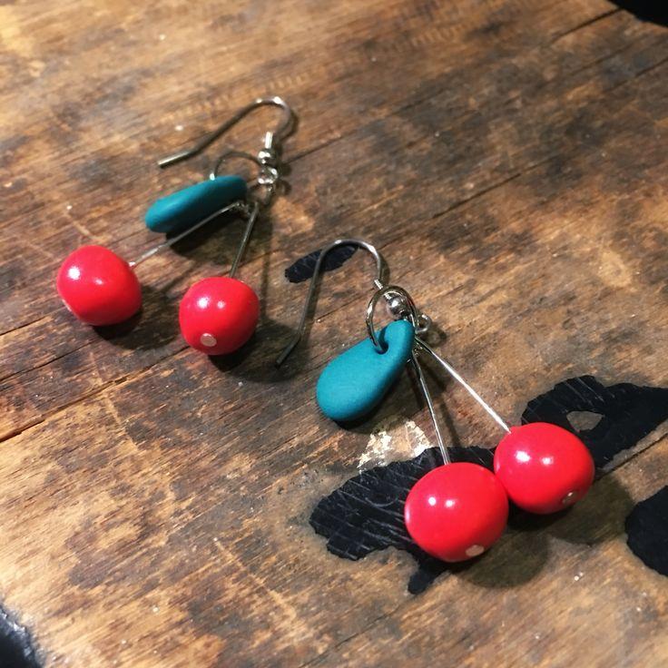 Cherry earrings kirsikka korvakorut handmade by CherryAnn polymer clay