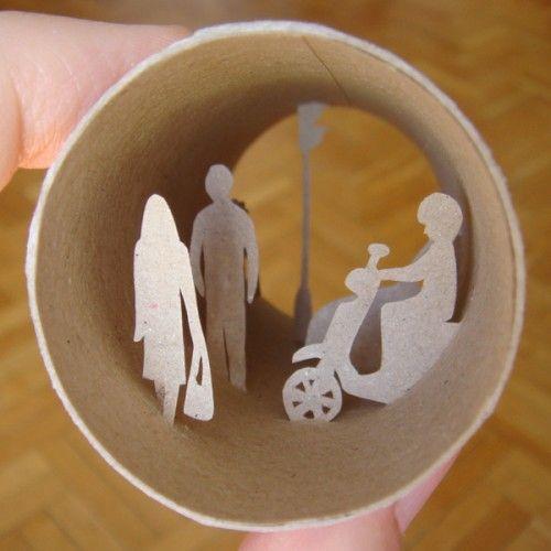 Mind Blowing Paper Cut Rolls by Anastassia EliasPaper Cut, Paris, Illustration, Toilets Paper Art, Toilets Rolls, Clever Ideas, Fun Artists, Anastassia Elias, Toilet Paper