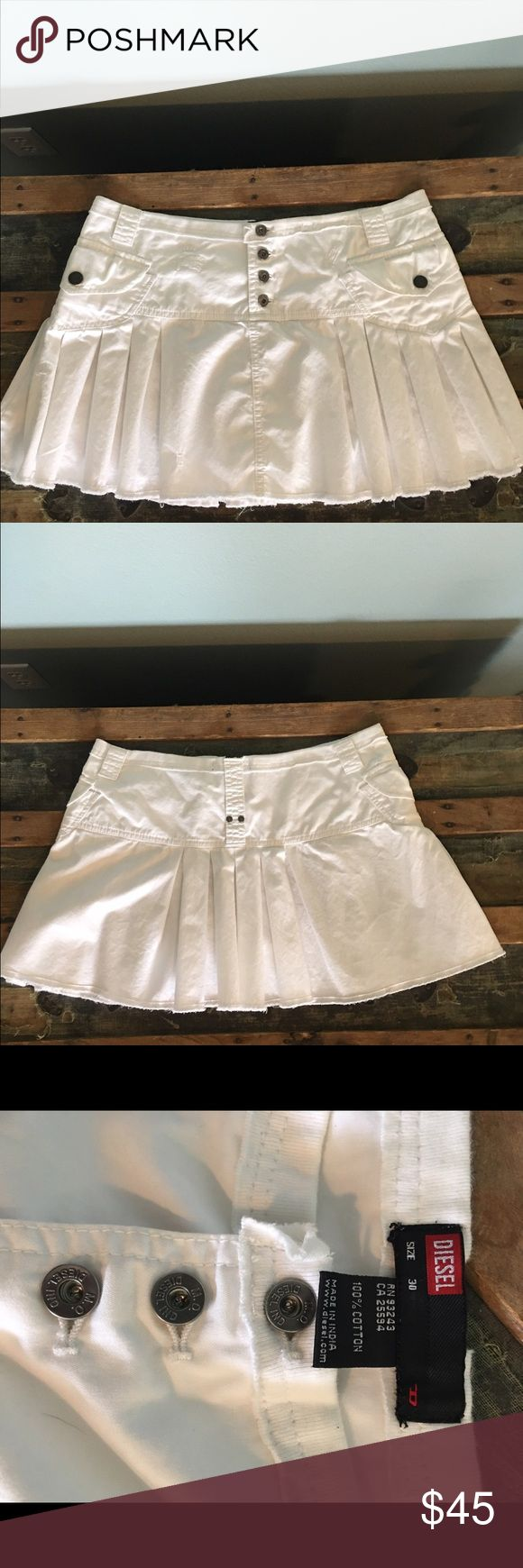 "Diesel skirt Super cute, white distressed, frayed hem, mini skirt, size 30, waist to hem 12"". Looks like new! Diesel Skirts Mini"