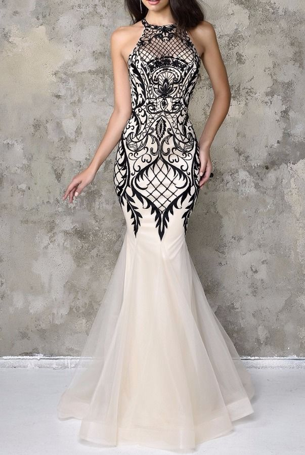 Nina Canacci Artful Lace Halter Gown Ivory Black Dress