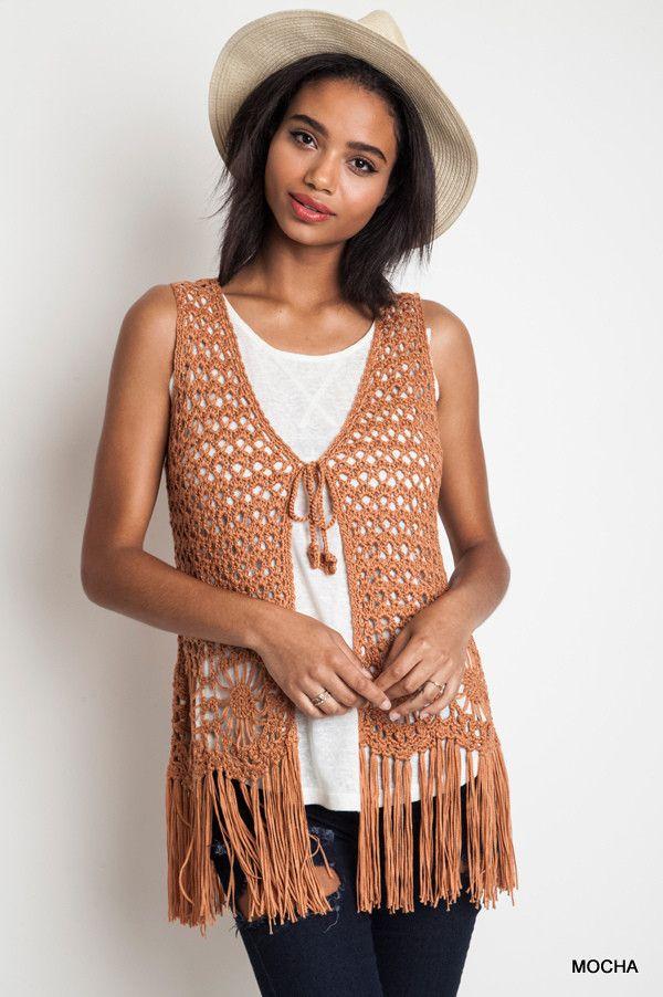 The Urban Hippie - Sleeveless Crochet Fringed Vest | U03a0u03bbu03b5u03bau03c4u03ac | Pinterest | Bohemian Clothing ...
