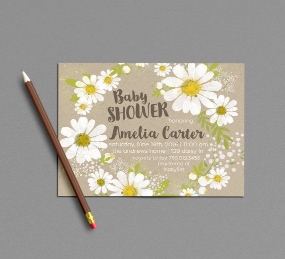 Spring Baby Shower Invitation Printable, Daisy Invite, White & Yellow Daisies Gender Neutral Summer Bridal Shower Invitations, Wildflower
