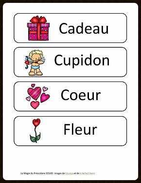 Étiquettes-mots de la St-Valentin à imprimer La Magie du Préscolaire - Matériel éducatif et autres