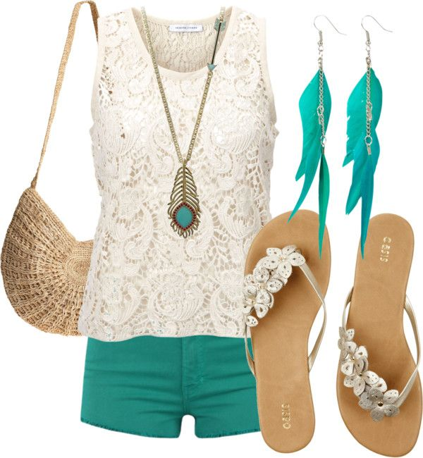 : Summer Fashion, Lace Tops, Cute Outfits, Flip Flops, Cute Summer Outfits, Style Clothing, Outfits Summer, Summer Clothing, Summer Ideas