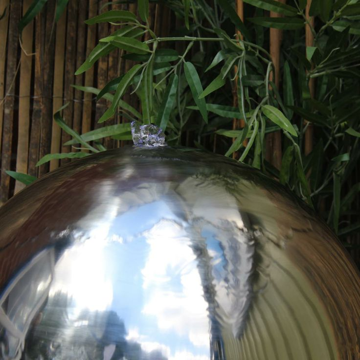 The top of a stainless steel sphere