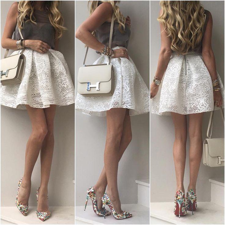 The other night -  #Chanel top, #Maje skirt, #LouboutinPigalleFolliesSpikes120mm…