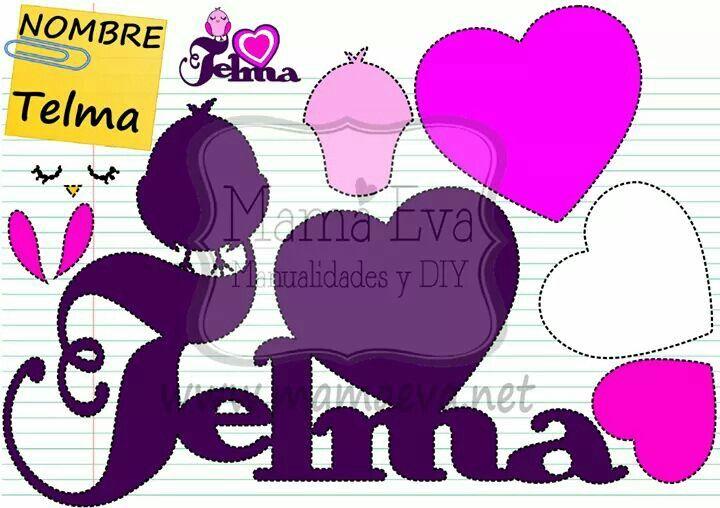 Nombre de TELMA en goma eva. Haz el nombre de tu hijo o hija en Goma Eva! Tenemos decenas de diseños en www.mamaeva.net Pide el tuyo en www.facebook.com/mamaevanet. Te esperamos! :-) :-)