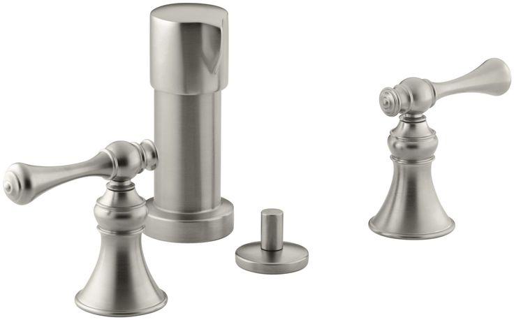 Kohler K-16132-4A Revival Bidet Faucet with Vertical Spray and Traditional Lever Brushed Nickel Faucet Bidet Vertical Spray