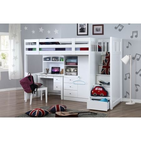 My Design Bunk Bed K/Single W/Stair&Desk W/Hutch&Wardrobe #104037