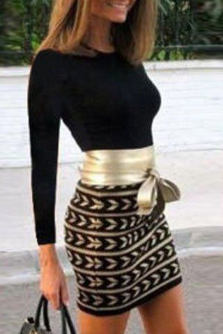 Chic Long Sleeve Printed Waist Bandage Bodycon Dress For Women