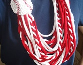 St. Louis Cardinals infinity scarf.  Upcycled T-shirt, cotton jersey knit fabric scarf. $20.00, via Etsy.