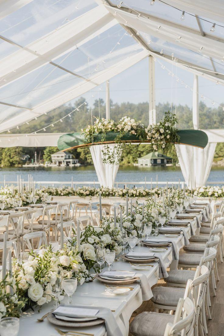 Muskoka Luxury Tent Wedding Hanging Canoe Tent Reception Long Table Wedding Tent Wedding Wedding Event Design