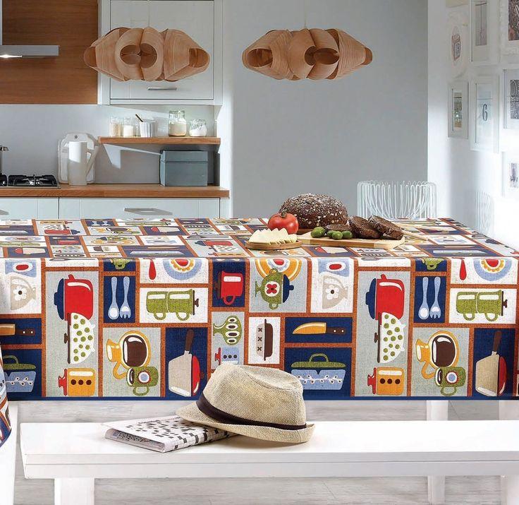 Cedar Grove Retro Kitchen Vinyl Indoor/Outdoor Non-Woven Backing Kitchen Picnic Tablecloth