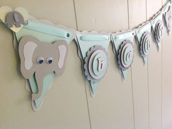 Elephant Baby Shower Decoration. Elephant Baby Banner. Mint and Gray. Made to Order
