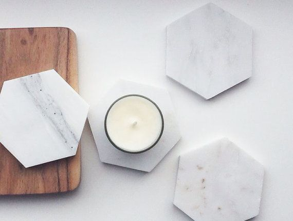 Whitewick Home are selling beautiful Italian calacatta Marble hexagon Coasters. Apart from being used as a coaster they will be great as candle