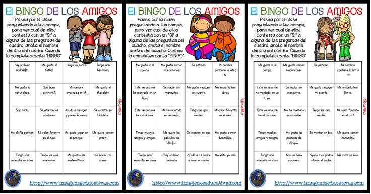 """Actividad para los primeros días de clase """"El BINGO DE LOS AMIGOS"""""""