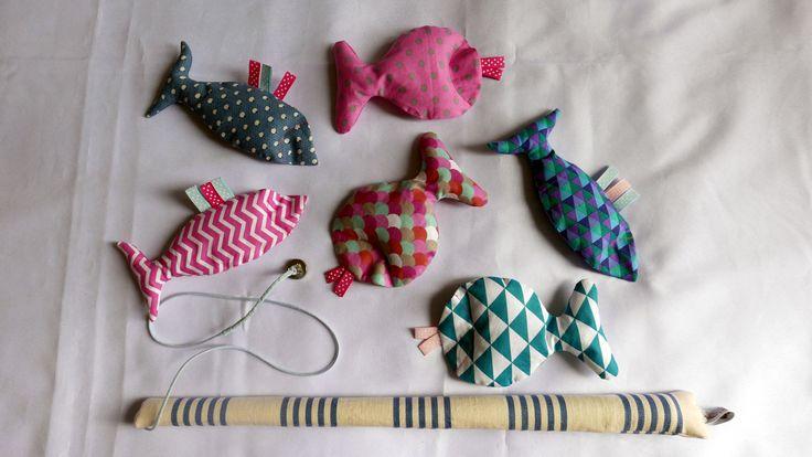 Jeu de pêche à la ligne aimanté en tissu : Jeux, jouets par la-griffe-de-la-loupette