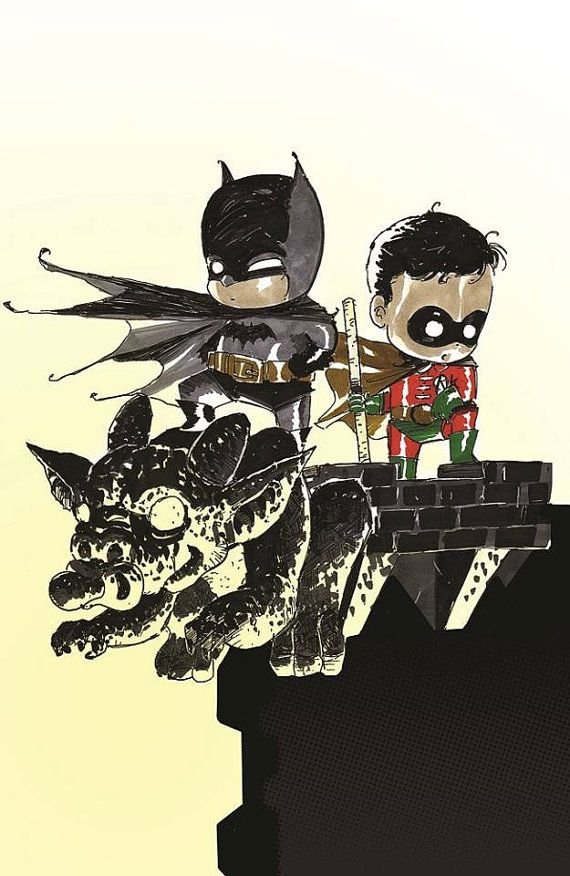 Baby Batman and Robin Art Print by Ferry Ickhwano