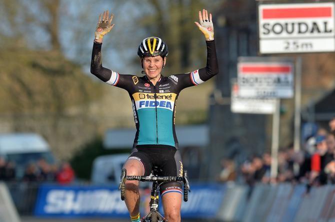 Nikki Harris celebrates after winning in Namur.