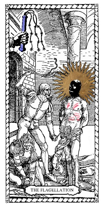 Flagellation Tarot Card by Passiones Martyrum (print on special paper, watercolor, golden leaf - 9 x 18 cm/3,5 x 7 inches)