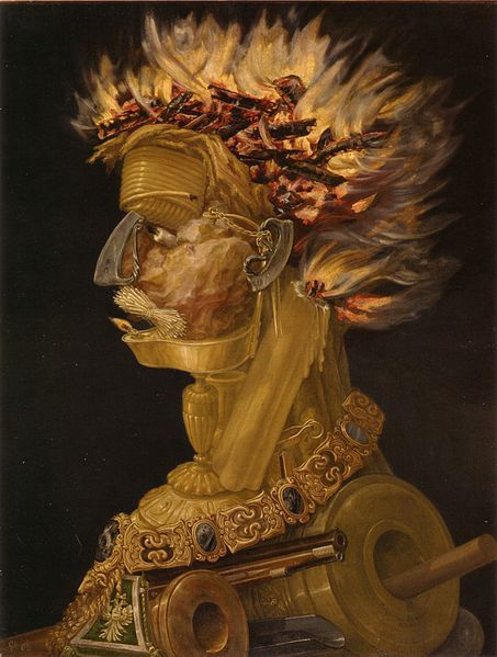 Giuseppe Arcimboldo,Fire, Oil on Wood, 1566, Kunsthistorisches Museum Vienna, Austria. In 1562 Arcimboldo became court portraitist to Ferdinand I at the Habsburg court in Vienna, and later, to Maximilian II and his son Rudolf II at the court in Prague. He was also the court decorator and costume designer. Arcimboldo's conventional work, on traditional religious subjects, has fallen into oblivion, but his portraits of human heads made up of vegetables were greatly admired by his…