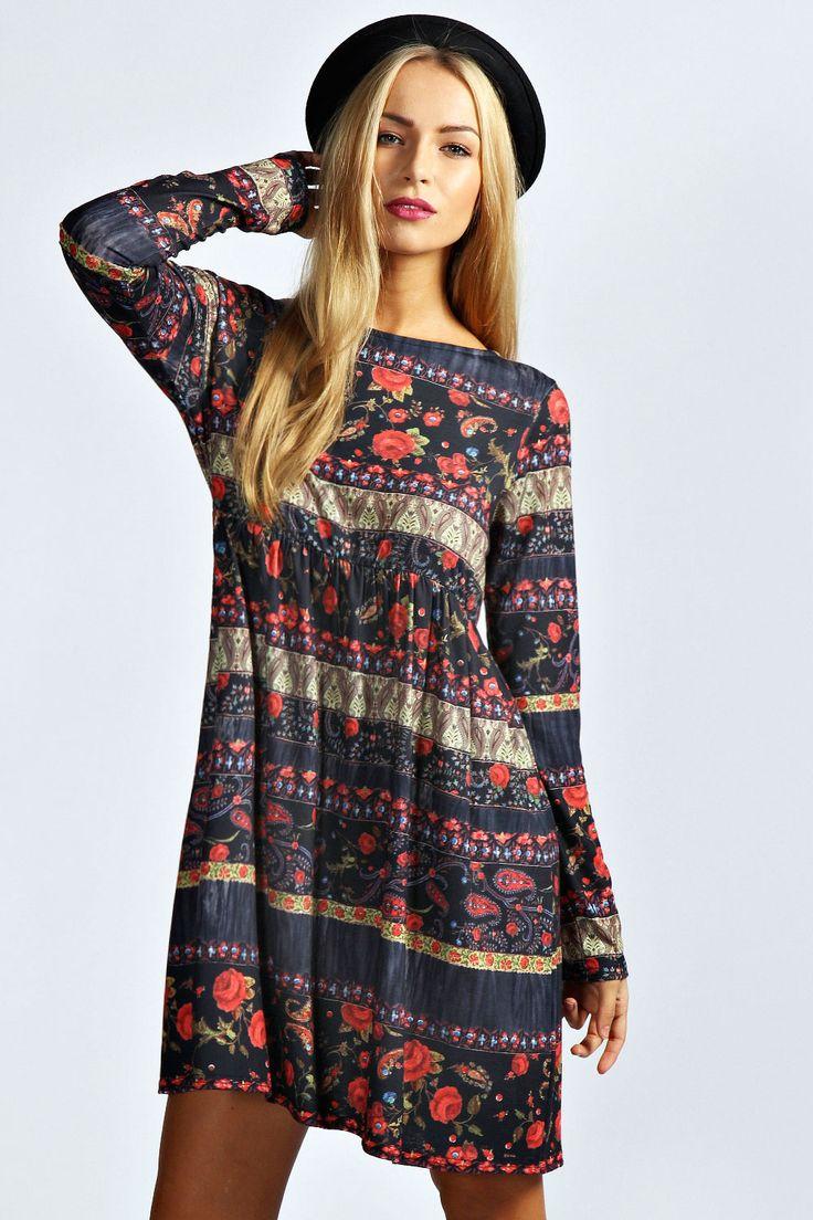 Floral and Paisley Print Smock Dress