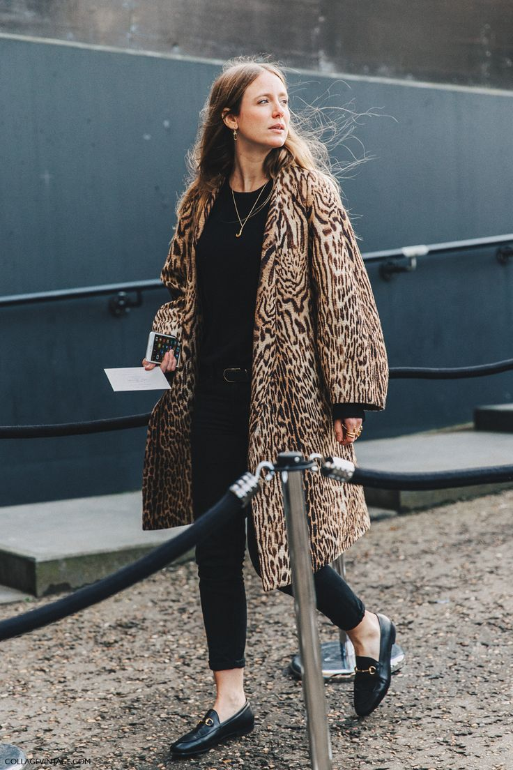 Animal print coat with black t-shirt, skinny jeans & Gucci loafers | @styleminimalism