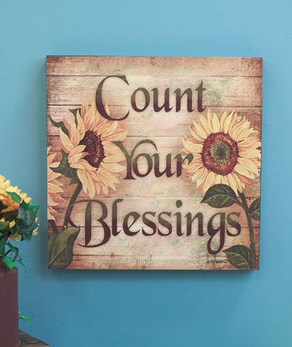"Count Your Blessings 16"" Sunflower Wall Art Wooden Decor Bathroom Kitchen 