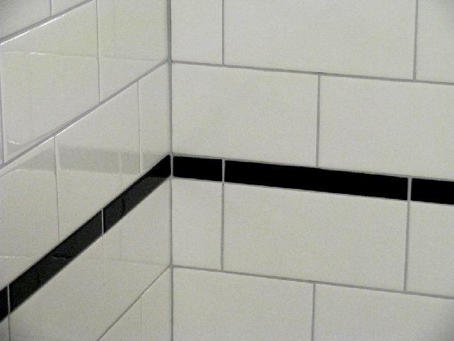 photos of black and white subway tile bathroom ideas - Google Search