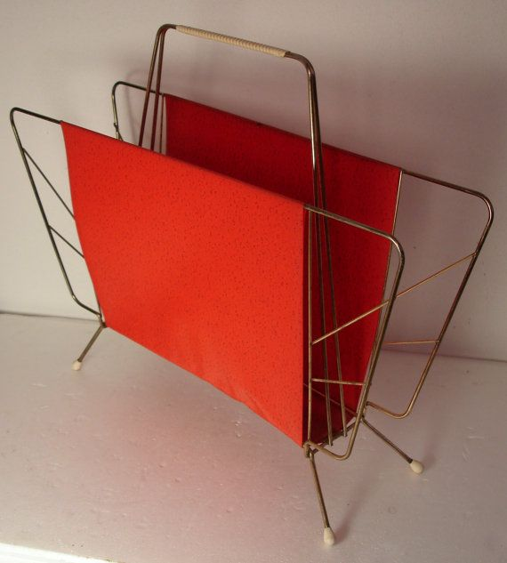 Atomic Age Midcentury magazine rack brass and red plastic
