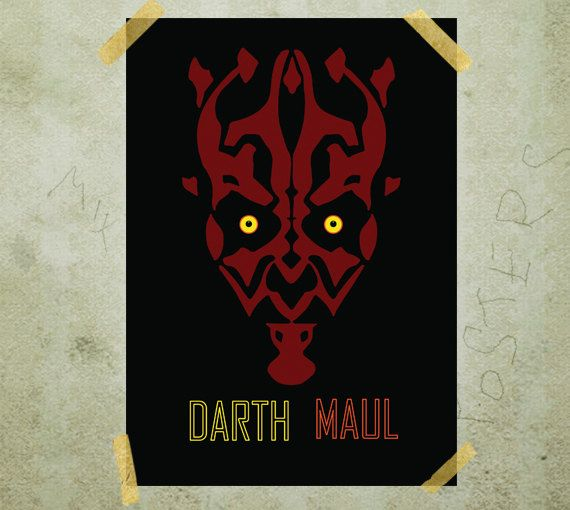 Darth Maul Star Wars poster print A3 by MixPosters on Etsy, $19.00