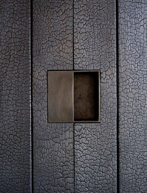 Shou sugi ban, or Yakisugi, is a traditional Japanese method of burning cedar (sugi) before finishing it with natural oil. Normally used as exterior siding, the charred wood is pest and rot resistant for up to eighty years.