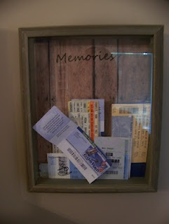 Ticket Stub Memory Box - I love the idea of cutting a slot in the top to make it easier to just drop the tickets in. I think it would be cool with the title, 'Oh, the places we went.' :)