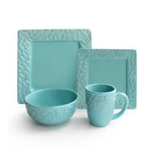 "Check out the American Atelier 1567124-TLRB Waverly ""Be Leaf Me"" Teal Square Dinnerware Set"