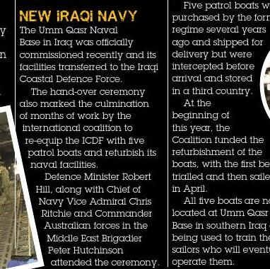 New Iraqi Navy Published in issue #3, September 2004