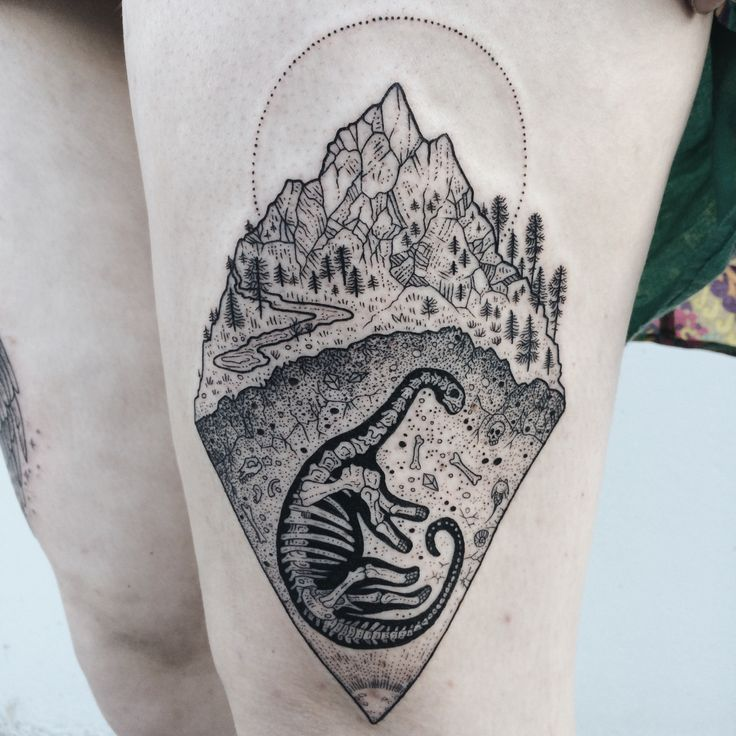 Camarasaurus buried in the earth beneath a mountain, scattered with bits of other long lost beings illuminated by the glow of the core. By Pony Reinhardt of Tenderfoot Studio in Portland, OR. For more, follow on IG: freeorgy
