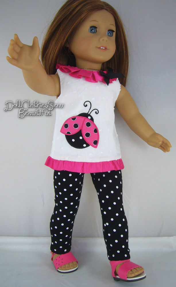 """LADYBUG TUNIC + LEGGINGS made for 18"""" American Girl Doll Clothes TOTALLY CUTE!!!"""